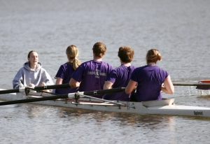 Members of the WSU Rowing Club practice on the water.